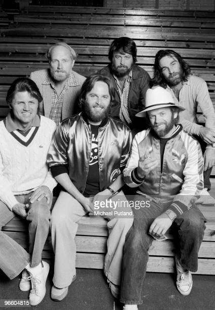 American pop group The Beach Boys Olso Norway 1982 Back row left to right Mike Love Brian Wilson and Dennis Wilson Front row left to right Bruce...