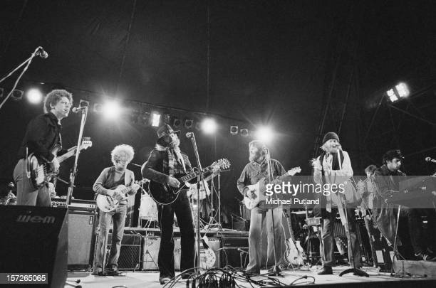 American pop group The Beach Boys performing at the Great Western Express Lincoln Festival, Bardney, Lincolnshire, 28th May 1972. Left to right:...
