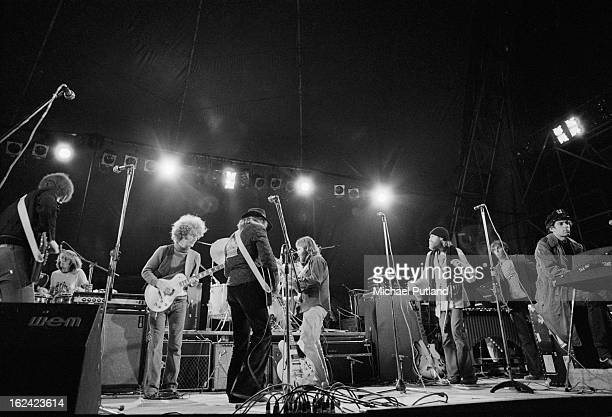 American pop group The Beach Boys performing at the Great Western Express Lincoln Festival, Bardney, Lincolnshire, 28th May 1972. Far left to right:...