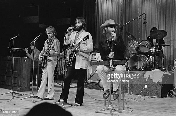 American pop group The Beach Boys, performing at the Sheffield Fiesta, Yorkshire, 3rd December 1970. Left to right: Bruce Johnston, Al Jardine, Carl...