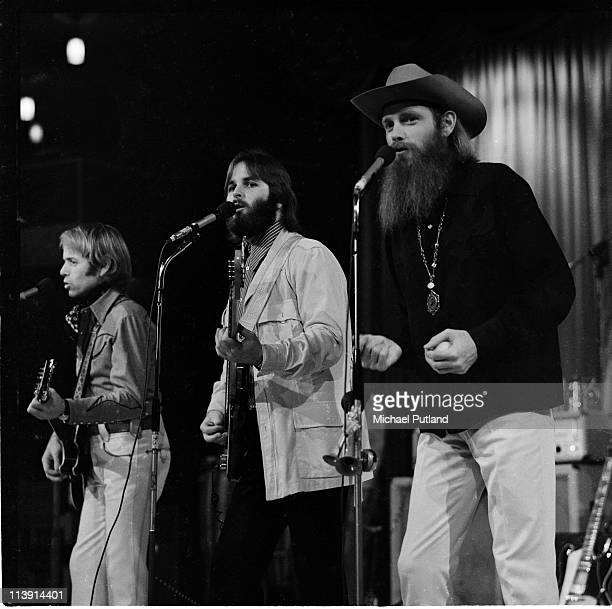 American pop group The Beach Boys performing on stage at the Sheffield Fiesta, Yorkshire, 3rd December 1970. Left to right: Al Jardine, Carl Wilson...