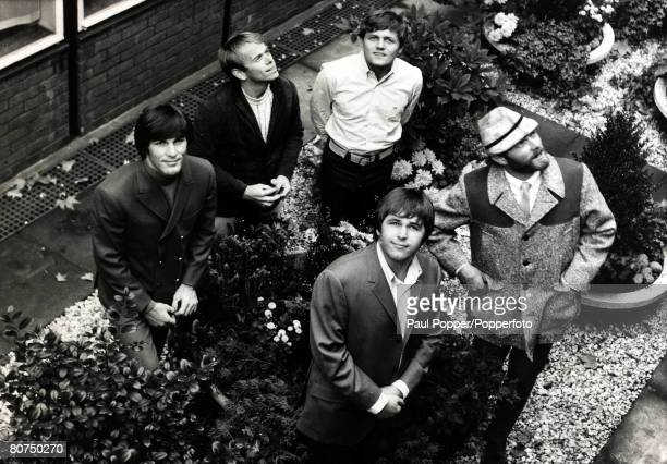 American pop group The Beach Boys posed outside EMI house in Manchester Square, London on 7th November 1966. Their latest single, 'Good Vibrations',...