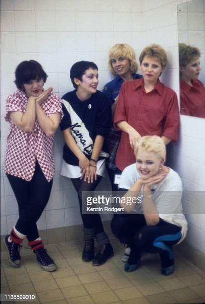 American pop group The GoGo's circa 1980 Left to right bassist Margot Olavarria rhythm guitarist Jane Wiedlin lead guitarist Charlotte Caffey drummer...