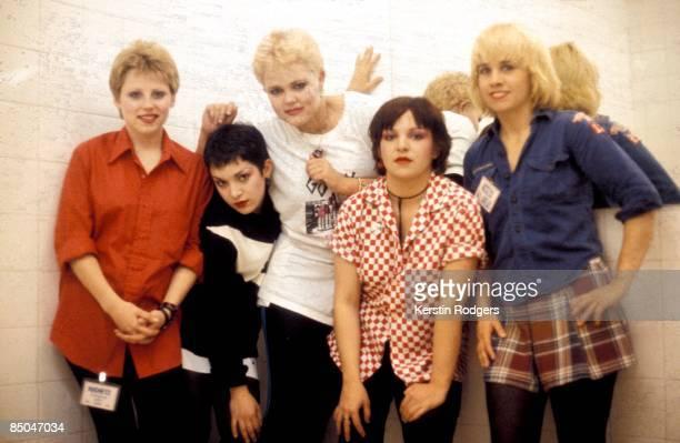 American pop group The GoGo's circa 1980 Left to right drummer Gina Schock rhythm guitarist Jane Wiedlin singer Belinda Carlisle bassist Margot...