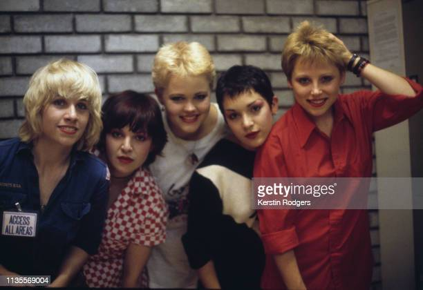 American pop group The GoGo's circa 1980 Left to right lead guitarist Charlotte Caffey bassist Margot Olavarria singer Belinda Carlisle rhythm...