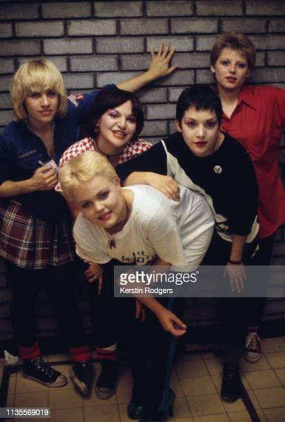 American pop group The GoGo's circa 1980 Left to right lead guitarist Charlotte Caffey singer Belinda Carlisle bassist Margot Olavarria rhythm...