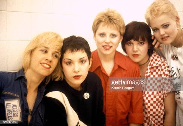 American pop group The GoGo's circa 1980 Left to right lead guitarist Charlotte Caffey rhythm guitarist Jane Wiedlin drummer Gina Schock bassist...