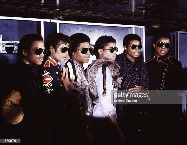 American pop group The Jacksons at a press conference to announce their forthcoming Victory Tour at the Tavern on the Green New York City 30th...