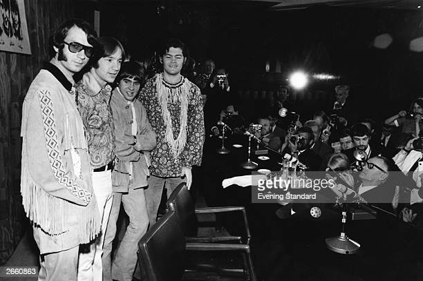 American pop group The Monkees Mike Nesmith Peter Tork Davy Jones and Micky Dolenz at a press conference at the Royal Garden Hotel London