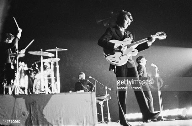American pop group The Monkees performing at Wembley Empire Pool London 2nd July 1967 Left to right Mickey Dolenz Peter Tork Mike Nesmith and Davy...