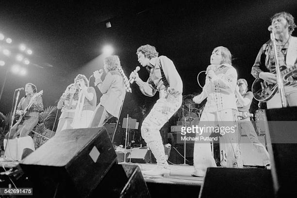 American pop group The Osmonds performing at Earl's Court London 29th May 1975 Left to right Alan Osmond Marie Osmond Donny Osmond Merrill Osmond Jay...