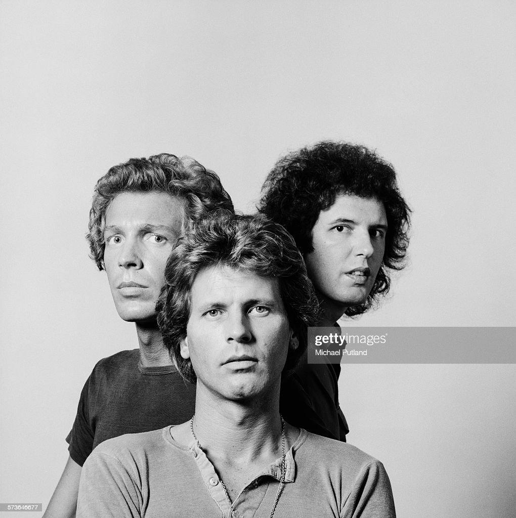 American pop group The Walker Brothers, London, 20th July 1976. Left to right: bassist Scott Walker, guitarist John Walker (1943 - 2011) and drummer Gary Walker.