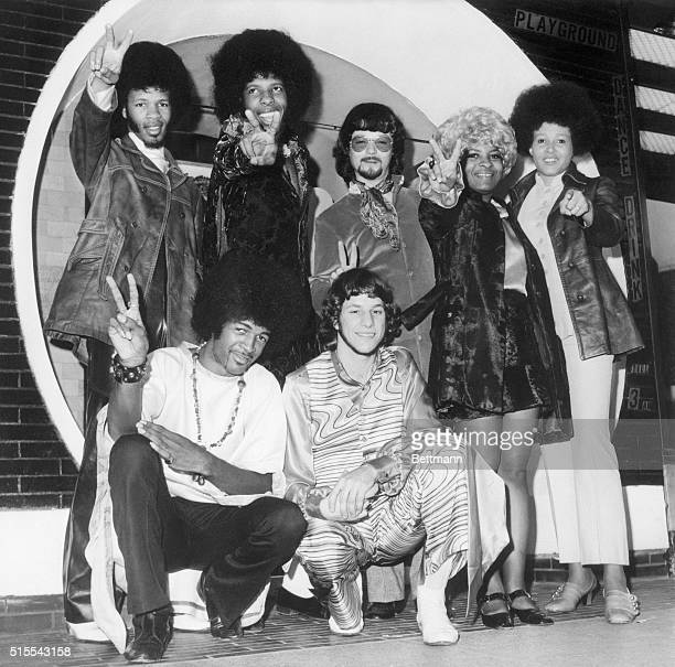 American pop music group Sly and the Family Stone shown shortly after their arrival in London the start of their first Britsh tour