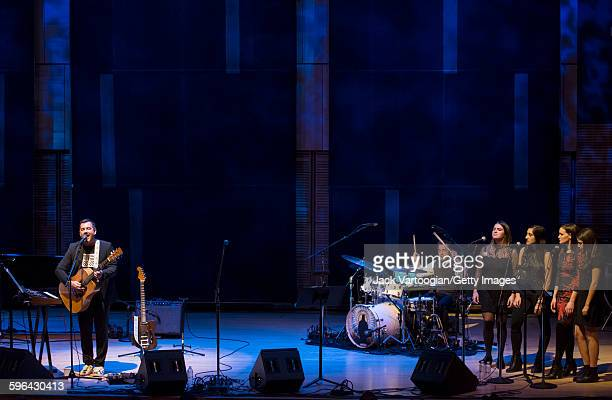 American Pop musician Duncan Sheik performs at Carnegie Hall's Zankel Hall New York New York November 21 2015 With him are Doug Yowell on drums and...