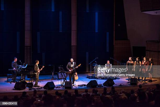 American Pop musician Duncan Sheik performs at Carnegie Hall's Zankel Hall New York New York November 21 2015 With him are Jason Hart on piano and...