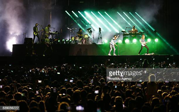 American pop rock band Maroon 5 performs at EXPO 2016 Antalya on June 9 2016 in Antalya Turkey
