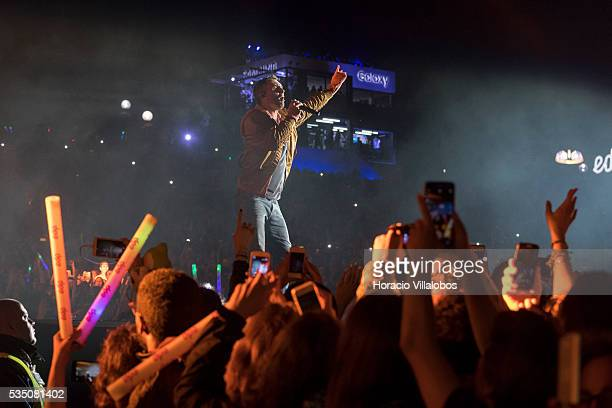 American pop rock band Maroon 5 performs on the fourth day of Rock in Rio Lisbon on May 28 2016 in Lisbon Portugal