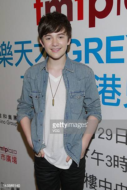 American pop rock singer and pianist Greyson Chance attends a press conference on April 29 2012 in Hong Kong China