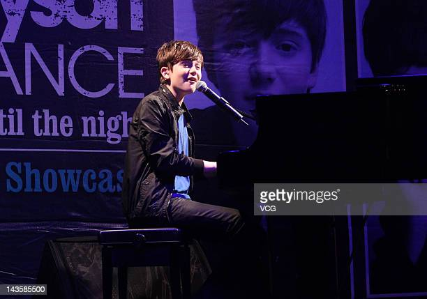 American pop rock singer and pianist Greyson Chance performs on stage during his concert 2012 Taiwan Promo Trip on April 27 2012 in Taipei Taiwan of...
