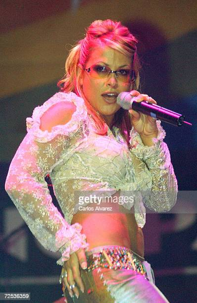 American pop singer Anastacia performs at the 7th anniversary of the radio program 'Fan Club' February 23 2002 in Madrid Spain