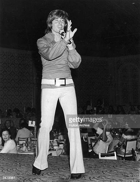 American pop singer and teen idol Bobby Sherman performing on stage at Variety Club event Hollywood June 1971