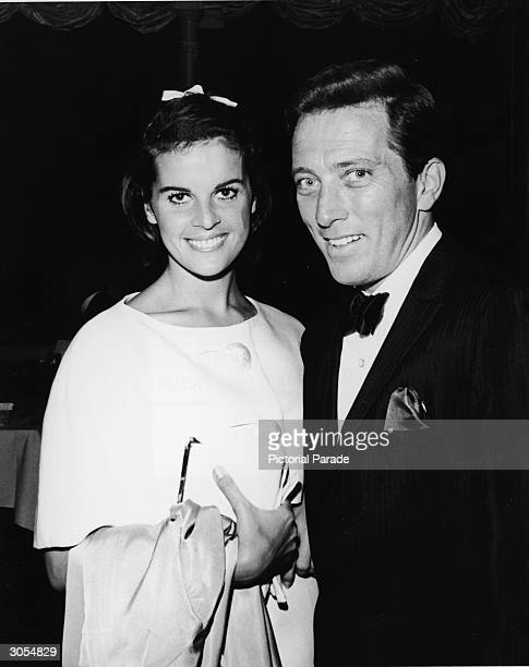 American pop singer Andy Williams and his wife French singer and actor Claudine Longet smile as they attend singer Bobby Darin's opening night...