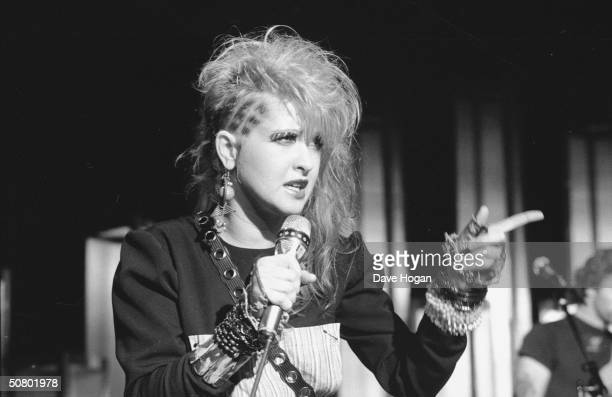American pop singer Cyndi Lauper on stage 1984