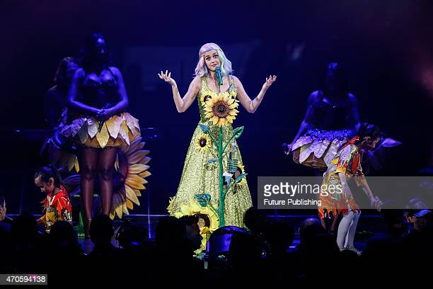 American pop singer Katy Perry performs in her concert on April 21 2015 in Shanghai China Shanghai is the second stop in Perry's Prismatic global...