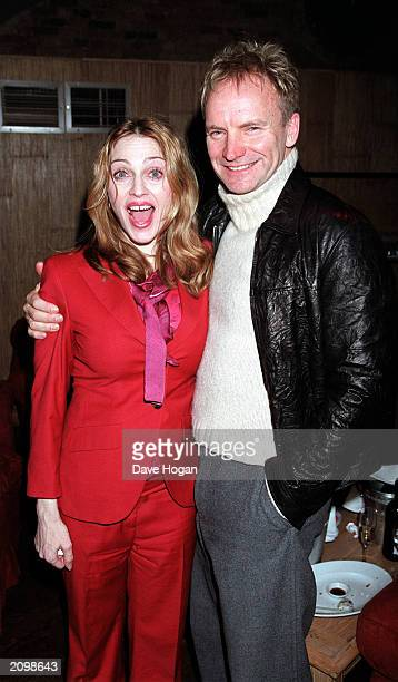 American pop singer Madonna and British singer songwriter Sting attend the aftershow party at The Collection restaurant in Chelsea London on April 7...