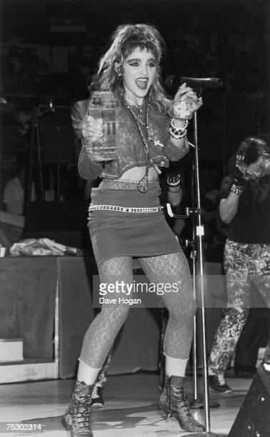 American pop singer Madonna performing on stage 1985