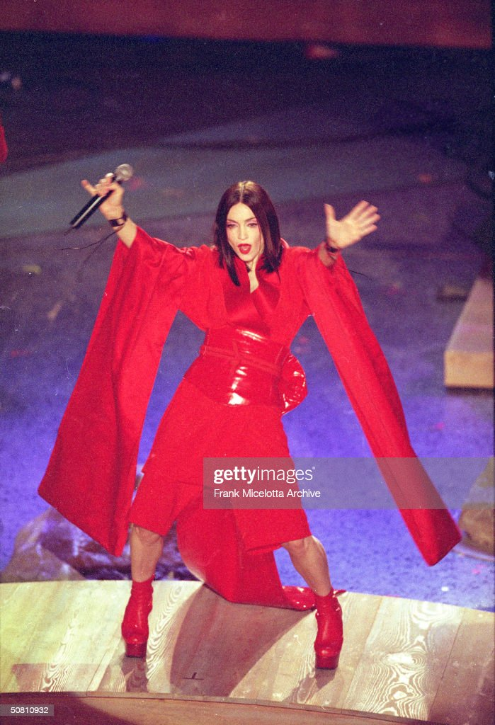 American pop singer Madonna performs on stage at the 41st Annual Grammy Awards, Los Angeles, California, February 25, 1999.
