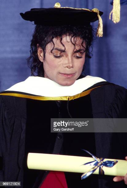 American Pop singer Michael Jackson receives an honorary doctorate award presented by the United Negro College Fund during an event at the Sheraton...