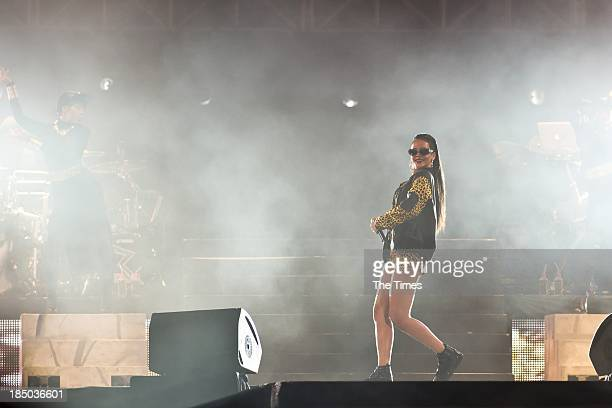 American pop singer Rihanna performs at the Cape Town Stadium on October 17 in Cape Town, South Africa. Rihanna is currently on her Diamonds World...