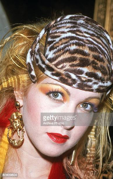 American pop singerCyndi Lauper wearing a leopard print hat during the presentation of her gold record for her album, 'She�s So Unusual', Austria,...