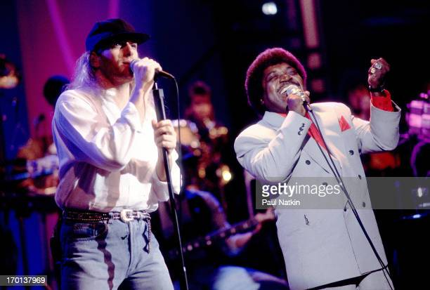 American pop singers Michael Bolton and Percy Sledge perform a duet during the former's television special 'This is Michael Bolton ' Chicago Illinois...