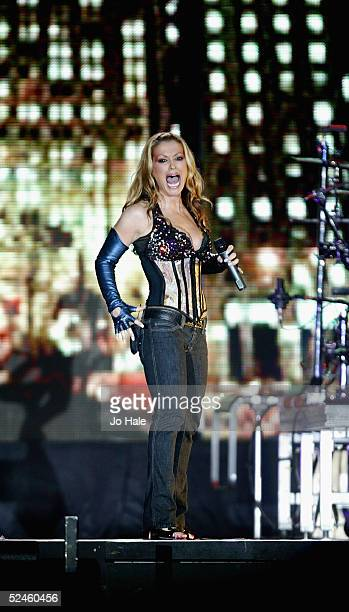 American pop star Anastacia performs at the London stop of the second leg of her first European tour 'Anastacia Live At Last' at Wembley Arena on...
