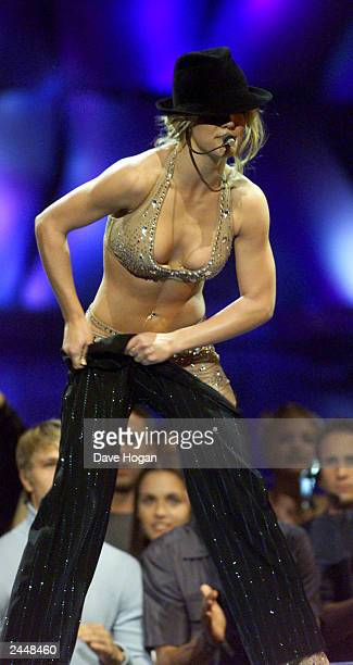 American pop star Britney Spears performs a cover of Satisfaction by the Rolling Stones on stage at the MTv music video awards on September 7 2000 in...