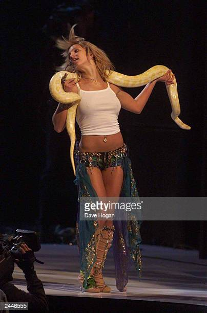 American pop star Britney Spears rehearses on stage at the 2001 MTV Video Music Awards held at the Metropolitan Opera House at the Lincoln Center on...
