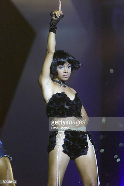 American pop star Lisa LeftEye Lopez performs on stage at the MOBO Awards held at Alexandra Palace on April 19 2000 in London