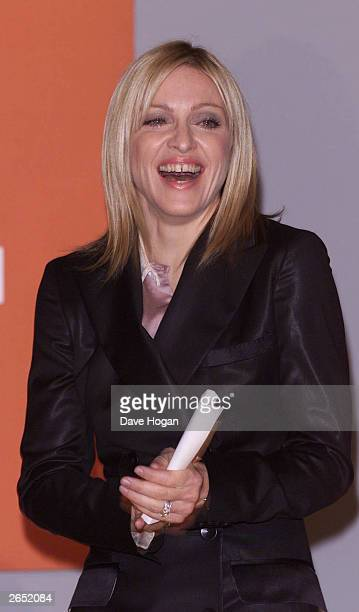 American pop star Madonna presents the Turner Prize at the Tate Gallery on November 2 2001 in London