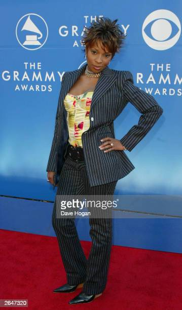 American pop star Mary J Blige arrives at the 44th Grammy Awards 2002 on February 27 2002 in Los Angeles United States