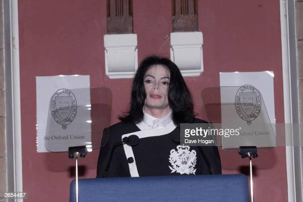American pop star Michael Jackson speaks at the Oxford Union for the Help the Child charity on February 6 2001 in Oxford Great Britain