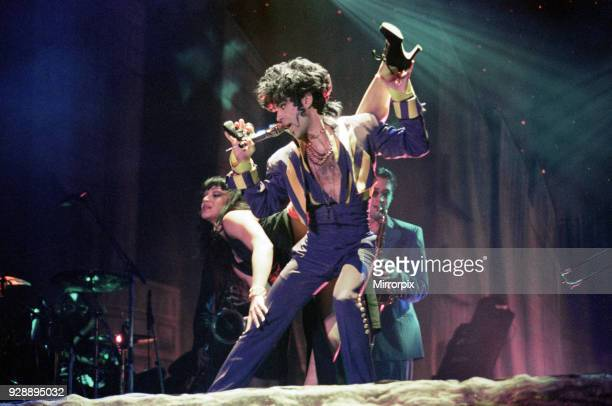 American pop star Prince performing on stage at the National Indoor Arena in Birmingham during his 'Act II Tour' 28th July 1993