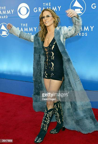 American pop star Sheryl Crow arrives at the 44th Grammy Awards 2002 on February 27 2002 in Los Angeles United States