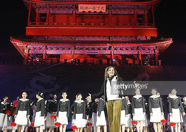 American pop star Sylvia Tosun performs at the 'Wall of Hope' concert on the Great Wall of China at the Juyongguan Pass during rehearsal in the north...