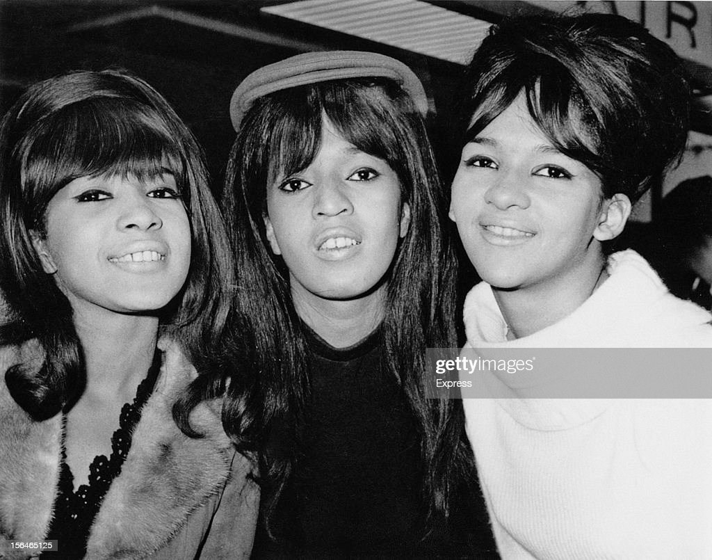 American pop trio The Ronettes, comprising Veronica Bennett (later Ronnie Spector), Nedra Talley and Estelle Bennett, UK, 21st October 1964.