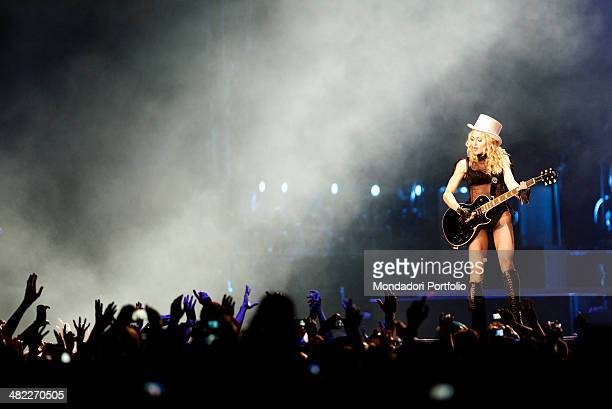 American popstar Madonna performs a song in front of the audience in the Palais Nikaia during the second European stage of her Sticky and Sweet Tour...