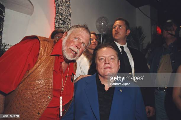 American pornographers Al Goldstein and Larry Flynt, at the 25th Anniversary Party for Screw Magazine, circa 1985.
