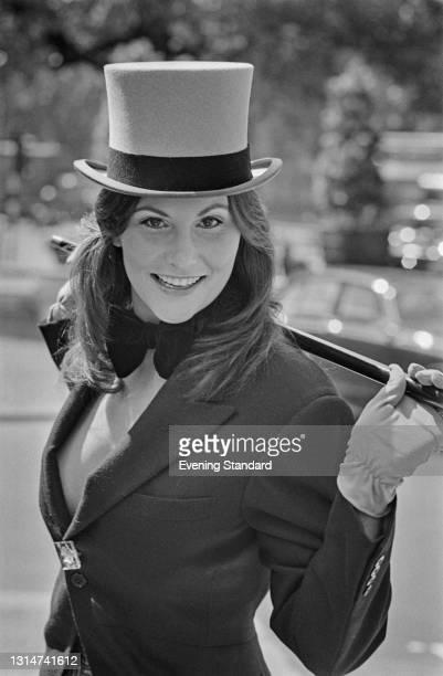 American pornographic actress Linda Lovelace attends Royal Ascot in Berkshire, UK, June 1974.