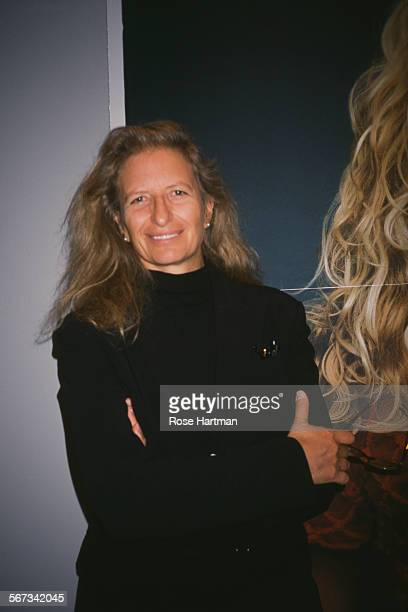 American portrait photographer Annie Leibovitz attends an exhibition preview at the International Center of Photography New York City circa 2000